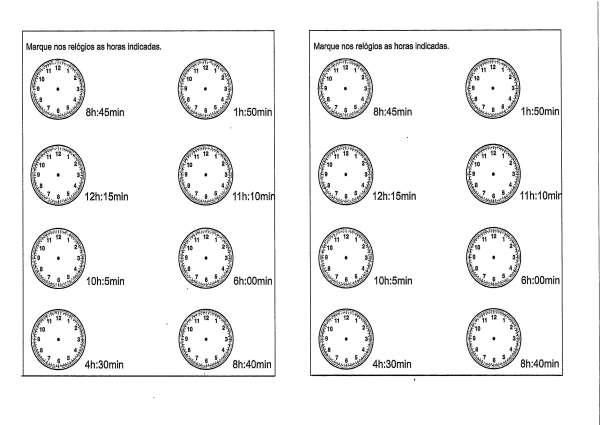 Atividade com Relógio Analógico