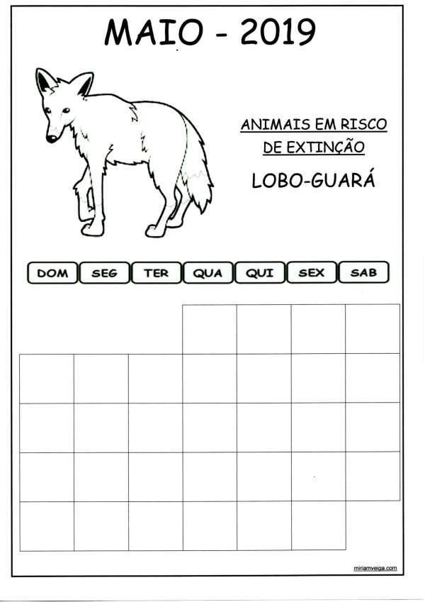 Calendário 2019 Maio-Parede
