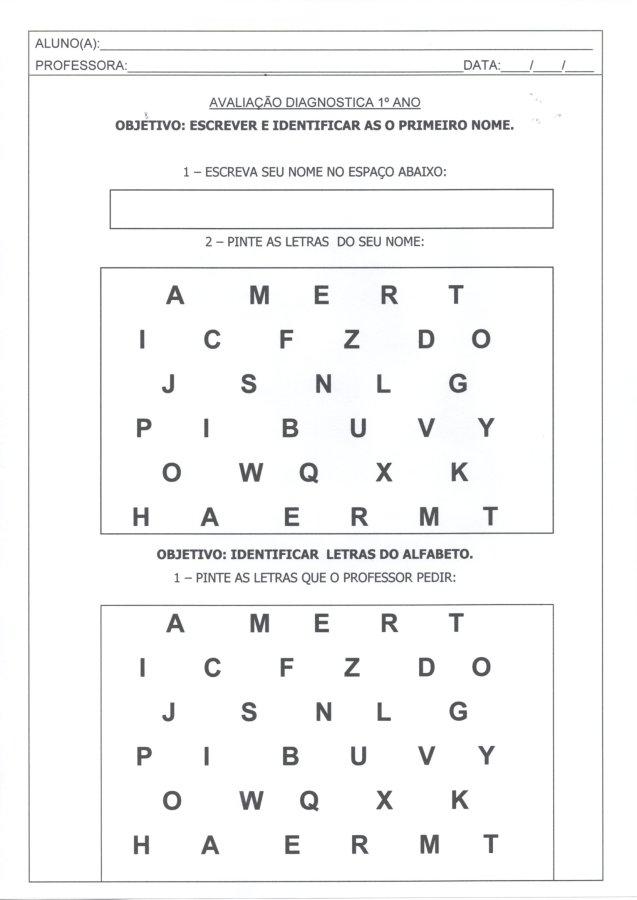 Avaliação Diagnóstica 1 Ano-Letras e números-Folha 1