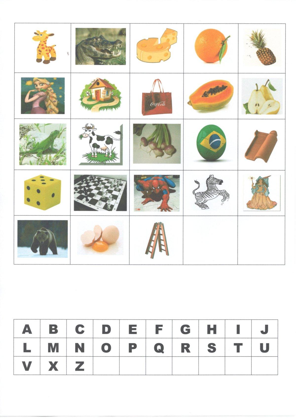 Letra inicial-Recorte e cole as imagens