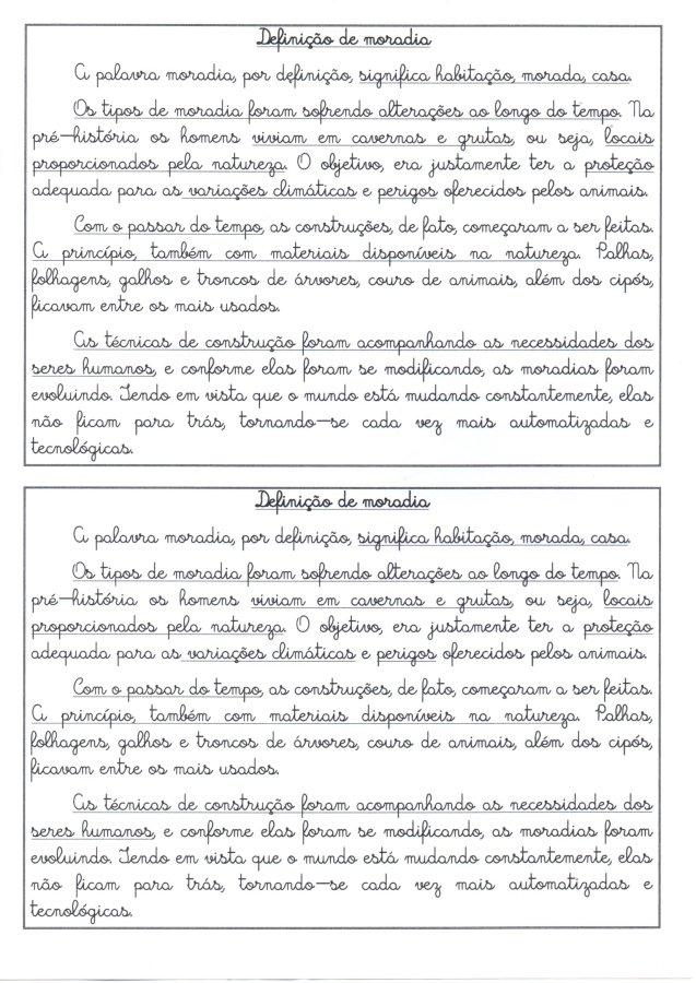 Texto para treino de Letra Cursiva-Moradias-Definição