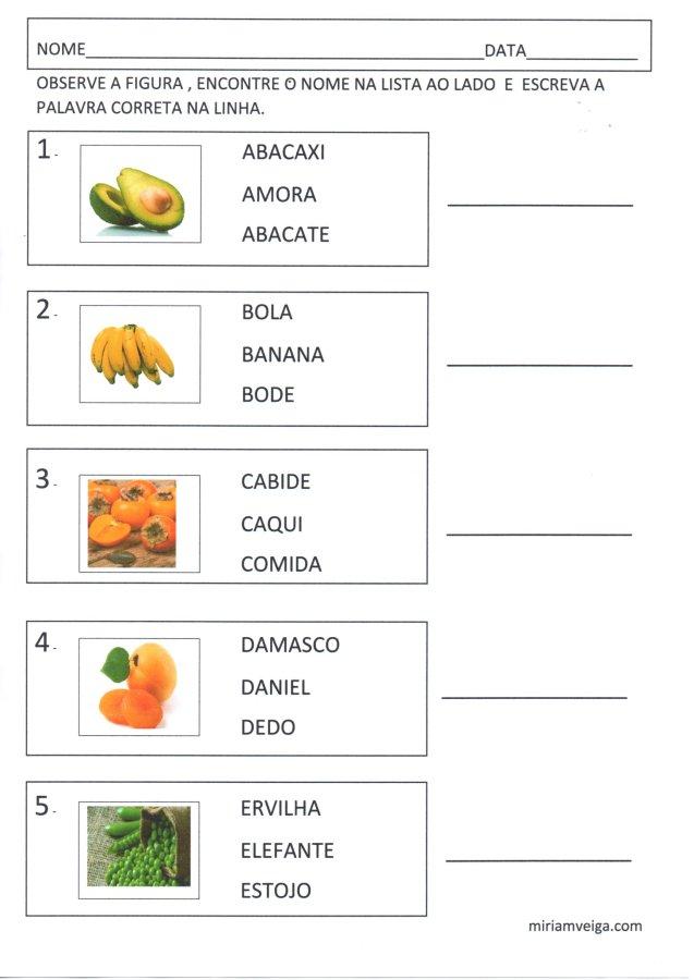 Frutas e verduras-Atividade de leitura-Parte 1-Folha 1