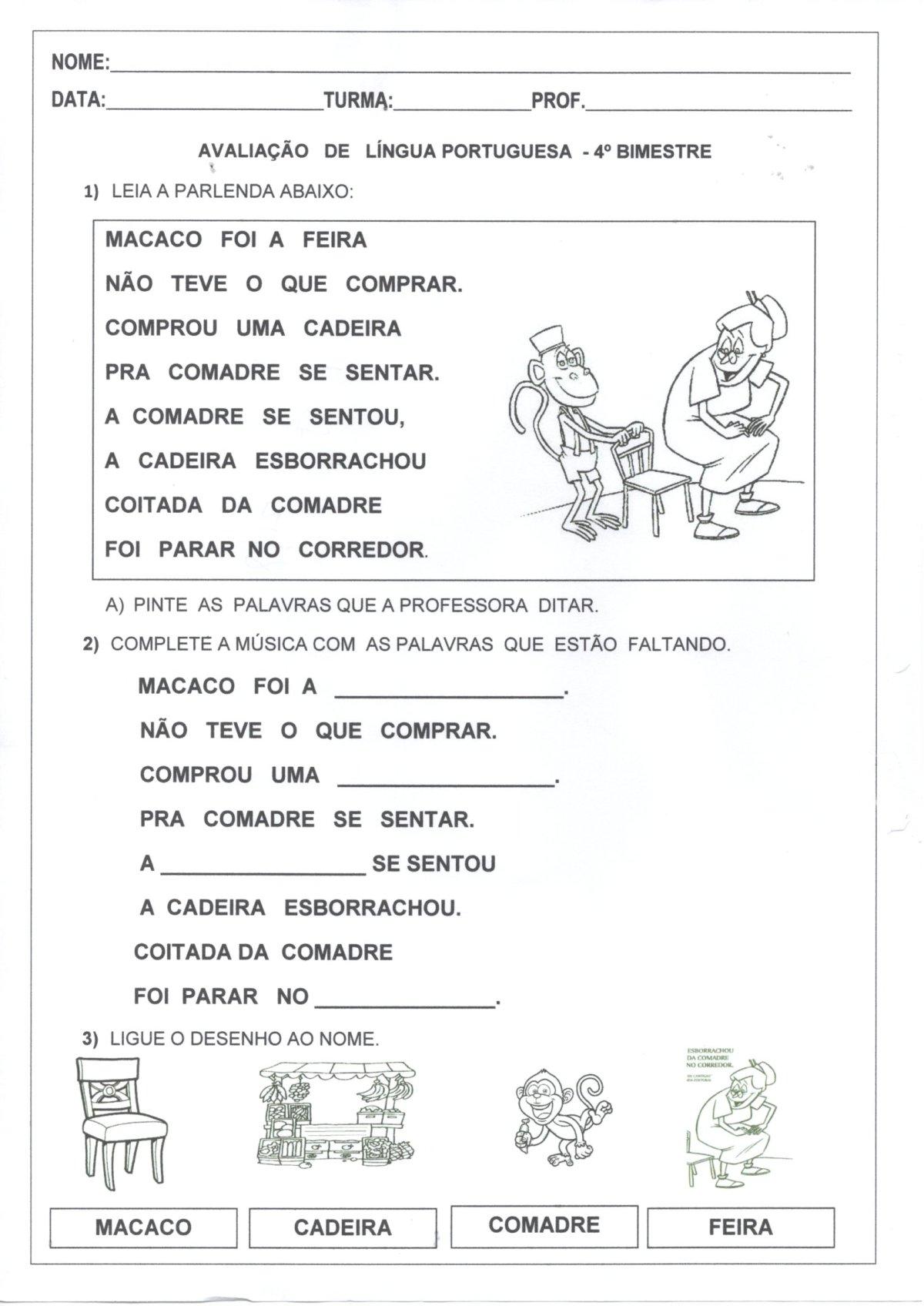 Avaliação de Língua Portuguesa 1 Ano-4 Bimestre-Folha 1