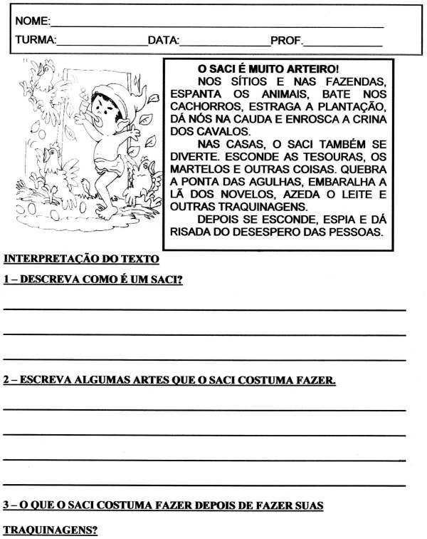 Avaliação Folclore 2 E 3 ANO Completa-Parte 1-Folha 1
