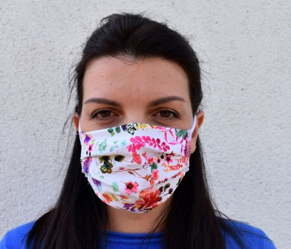 Mundschutz Maske weiß-blumen