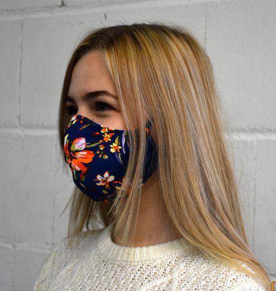 Gesichtsmaske Behelfsmaske Schutzmaske blau-Blümen