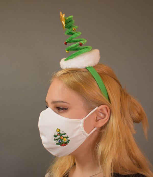 Mund.Nasen-Maske weiß mit Tannenbaum Stickerei