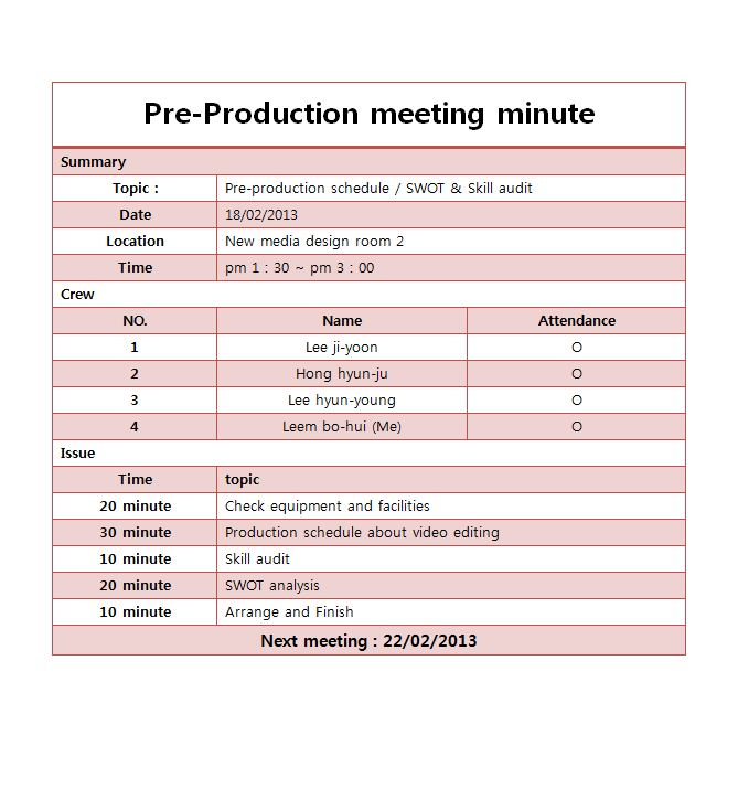 Pre-production meeting minutes   mirimstudent41
