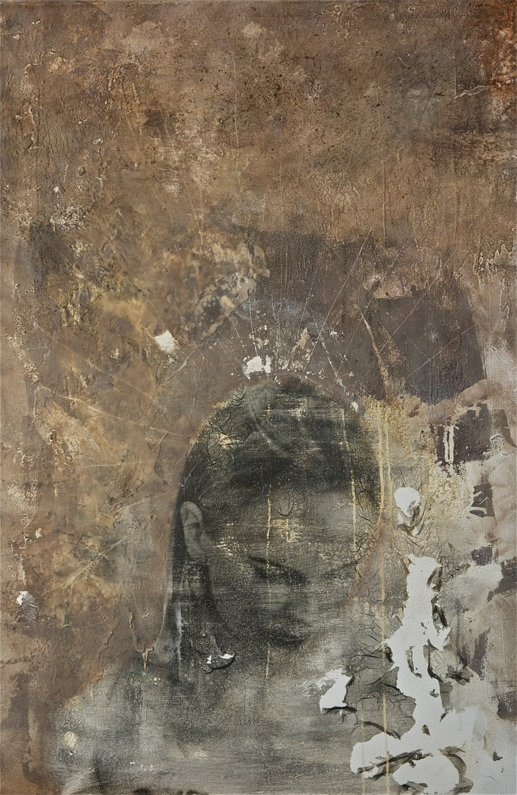 portrait of woman #7 - 2011 - 70x100cm - photographic emulsion, oil, wax and crayon on canvas