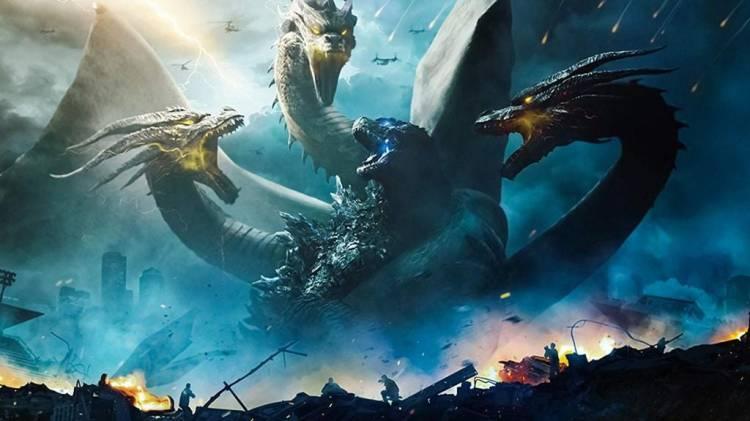 Godzilla battles King Ghidorah from the 2019 film Godzilla: King of the Monsters.