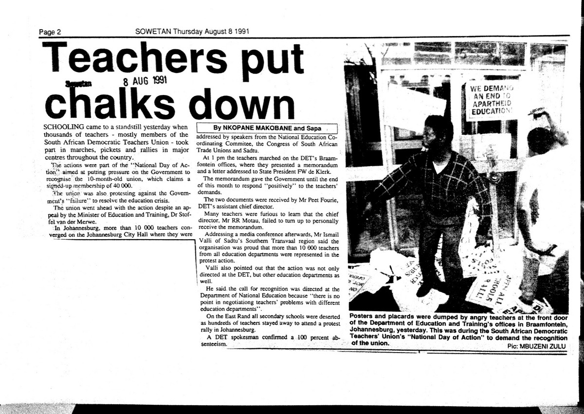 Education system played role in fighting apartheid in