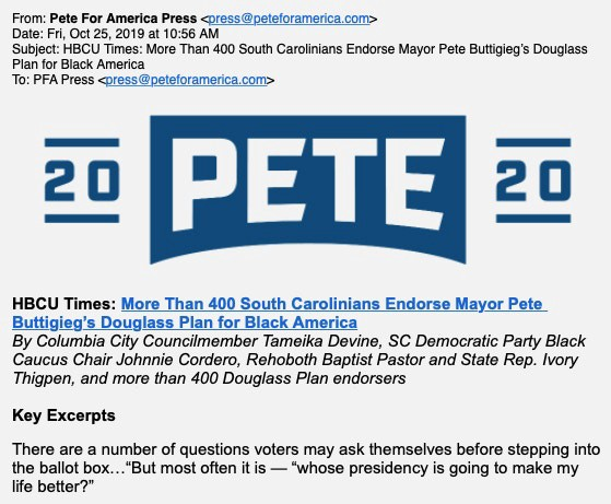 """The press release showing supposed support for Buttigieg's """"Douglas Plan for Black America""""."""