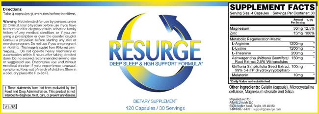 Resurge supplement nutrition fact sheet