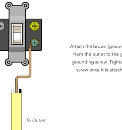 simply take the brown grounding wire and wrap it clockwise around the green grounding screw on the switch  [ 1186 x 859 Pixel ]