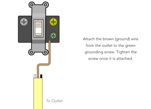 small resolution of simply take the brown grounding wire and wrap it clockwise around the green grounding screw on the switch