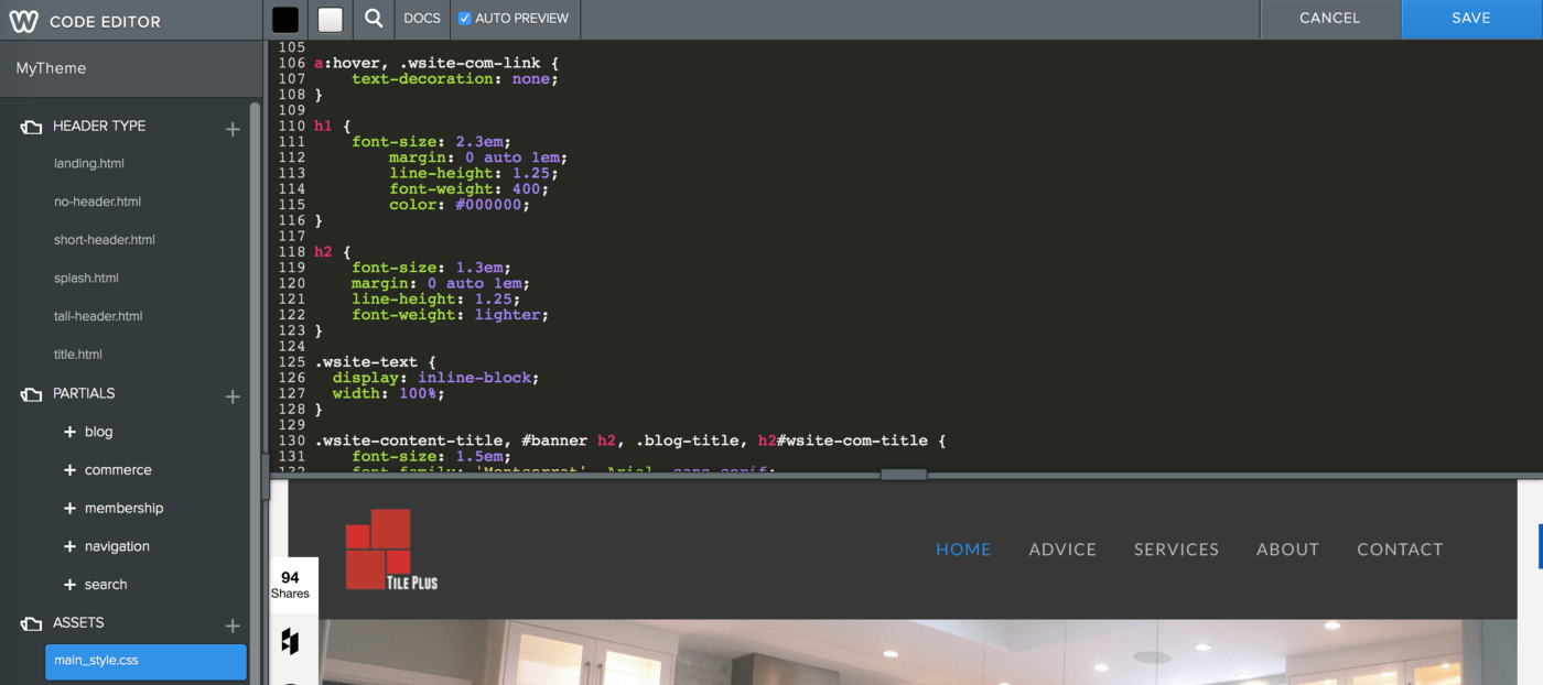 hight resolution of code editor in weebly
