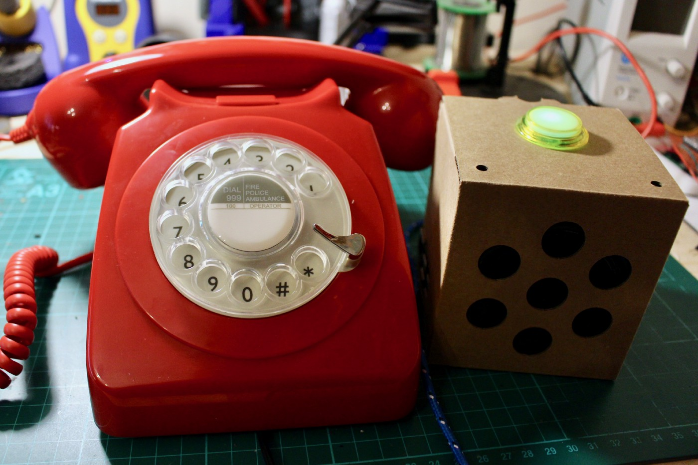 hight resolution of my new retro rotary phone build next to my original voice kit