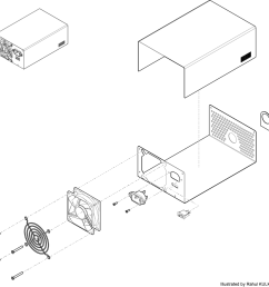 this is a black and white lineart technical illustration of a computer power supply the exploded view in isometric gives the end user a clear idea of the  [ 1400 x 1374 Pixel ]