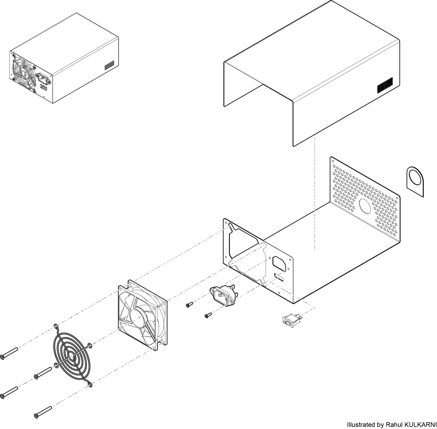 hight resolution of this is a black and white lineart technical illustration of a computer power supply the exploded view in isometric gives the end user a clear idea of the