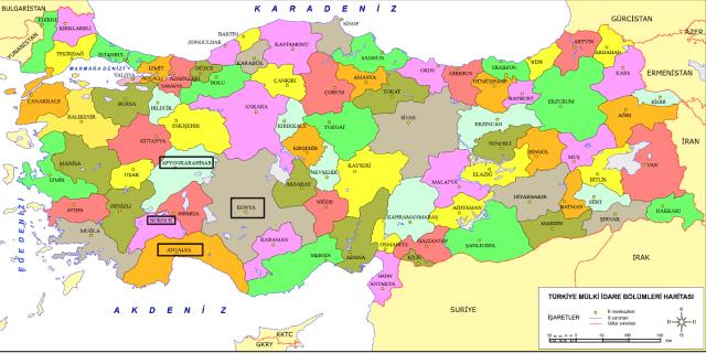 ıspartanın türkiye haritasındaki konumu