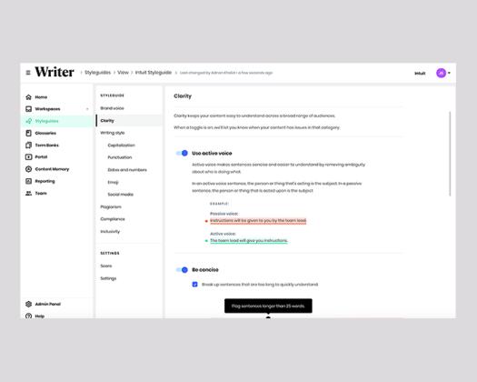 Screenshot of writing style settings