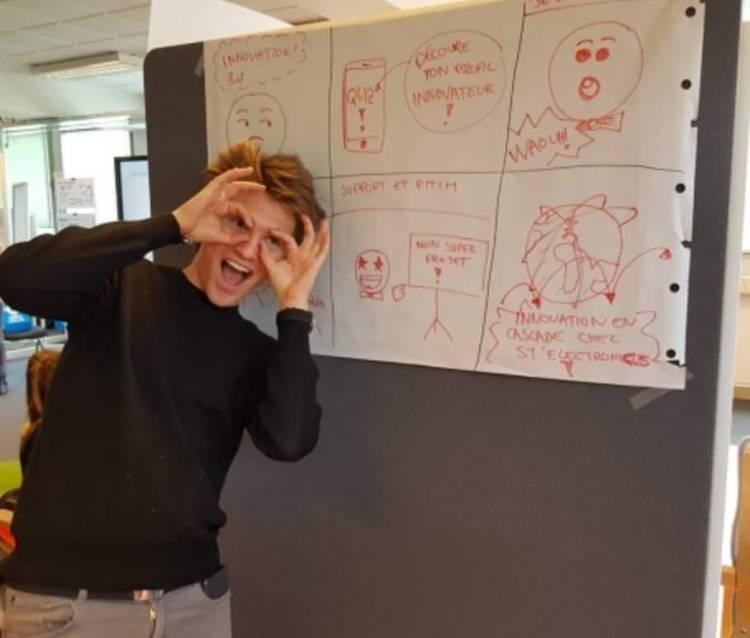 Alexandre Nachez, responsable du pôle intraprendre lors d'une cession Design Thinking