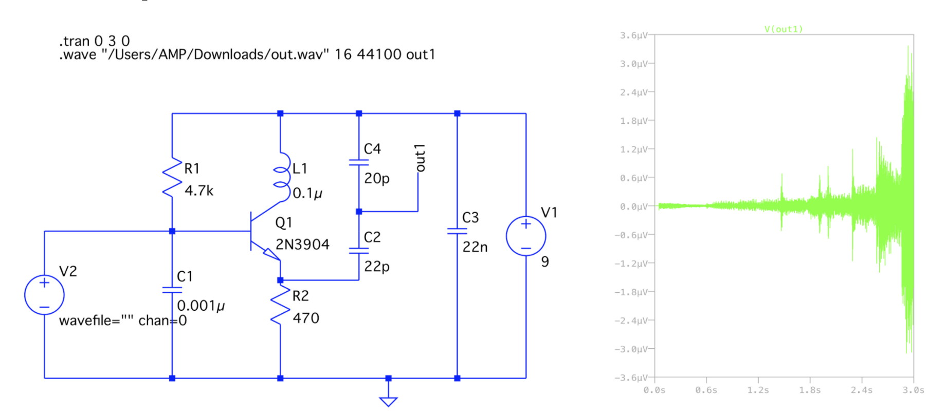 hight resolution of circuit diagram drawn in ltspice with corresponding tran waveform