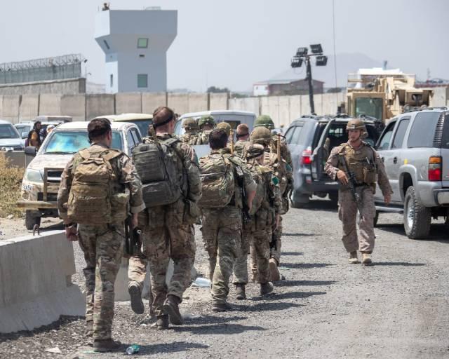 British personnel at Kabul International Airport.