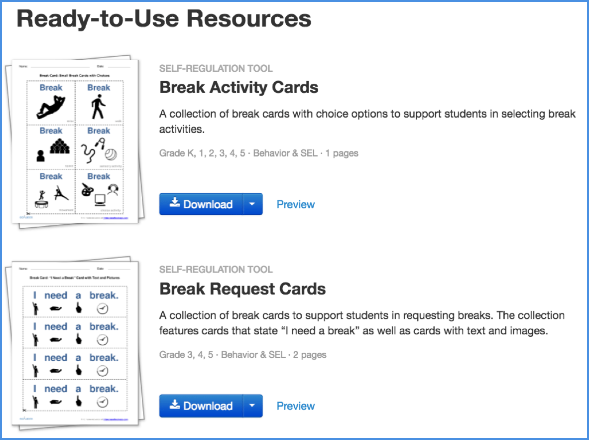 Top Break Cards For Students Printable