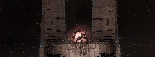 An Imperium Keepstar at the beginning of strategic operations. Several titans, center of image, are deploying via jump drive.