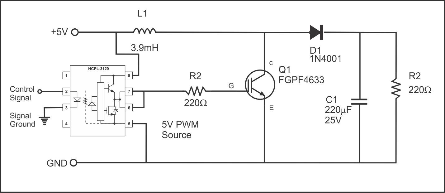 Isolated Input Boost Controller with HCPL3120 and GT30F124