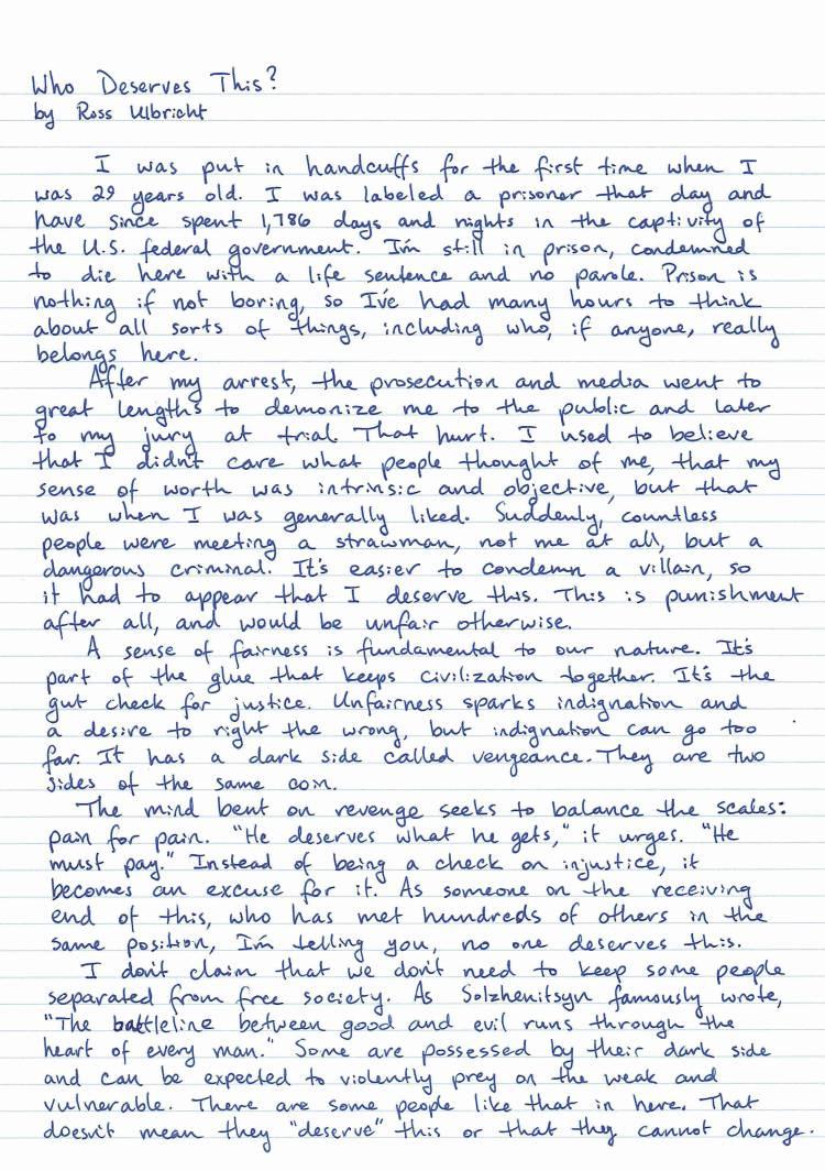 Ross Ulbricht letter prison
