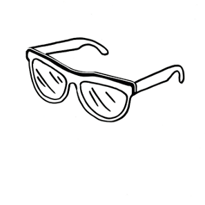 A simple black-and-white drawing of sunglasses.