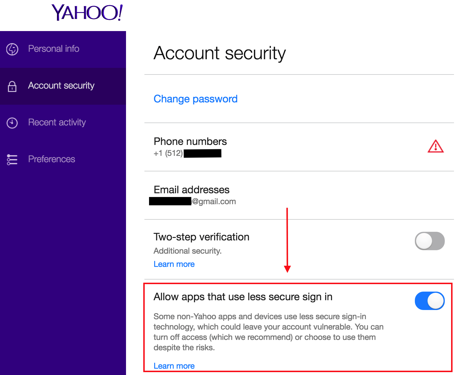 yahoo s less secure