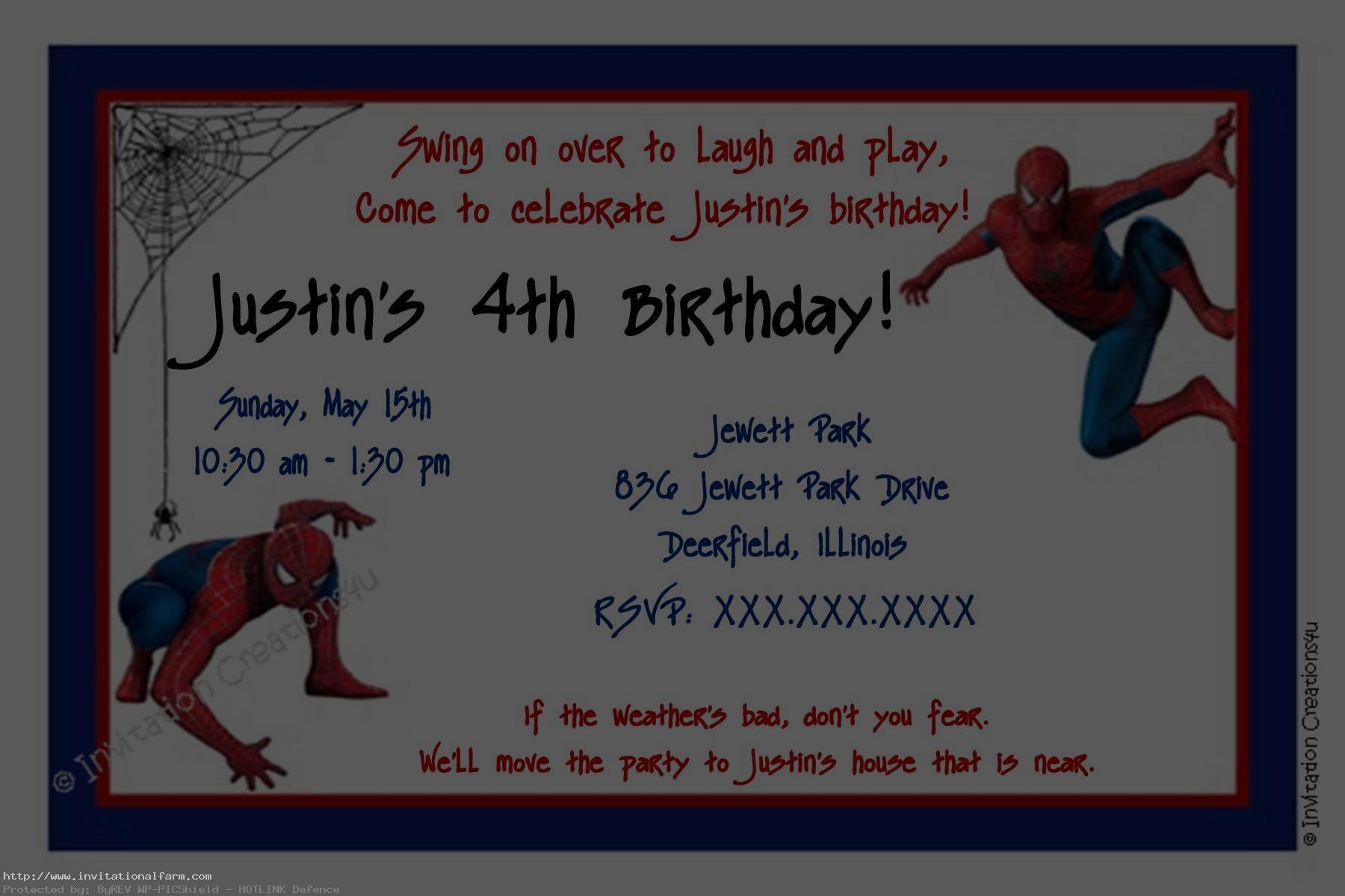 spiderman birthday invitations template