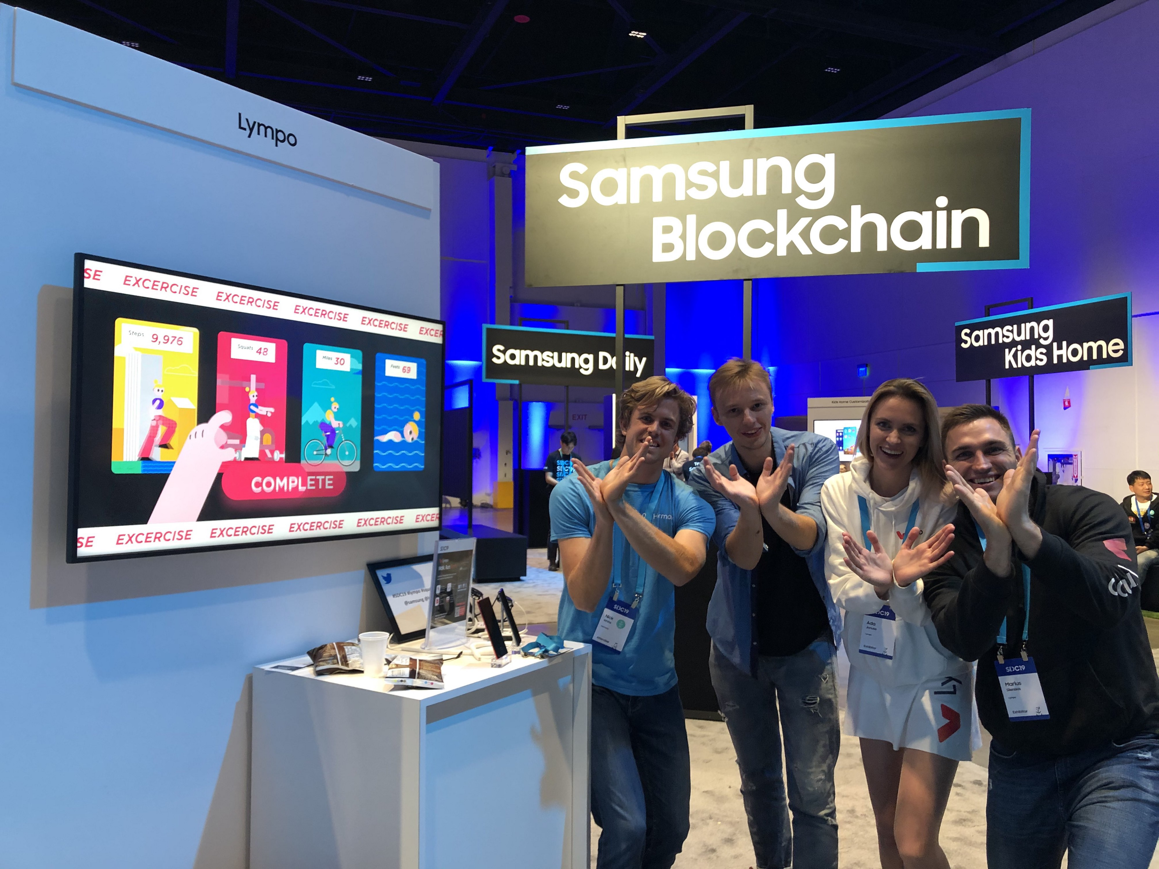 Lympo booth near Samsung Blockchain at SDC