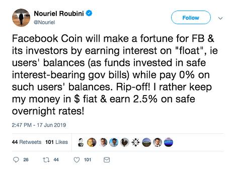 Nouriel Roubini on Facebook Coin
