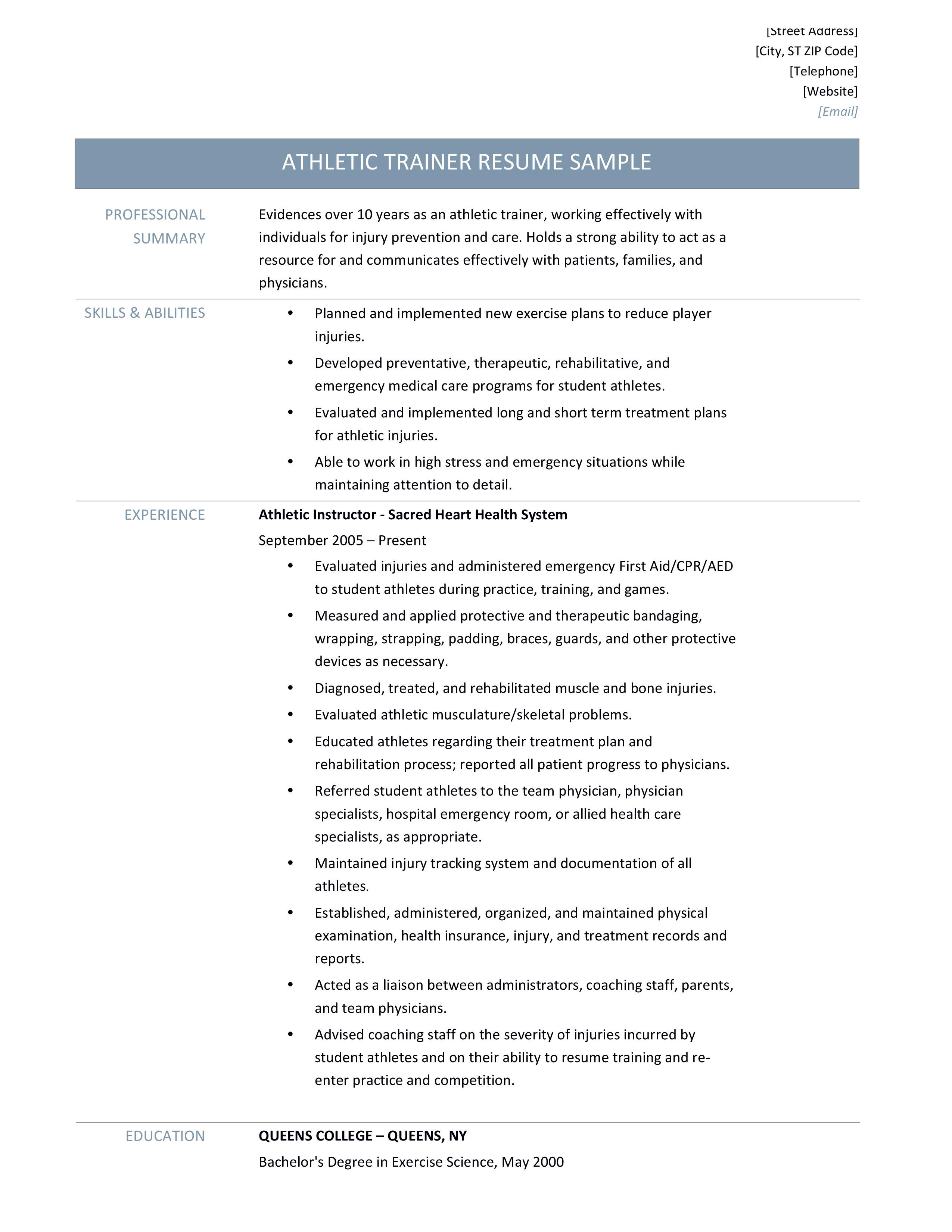 Athletic Trainer Knowledge Skills And Abilities