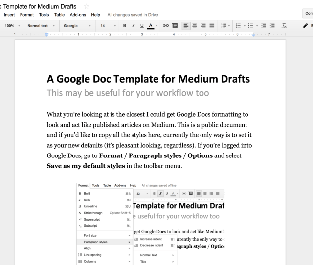 A Google Docs Template For Medium Writers  Minutes In The Morning