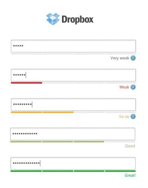 old dropbox screenshot with the password validation