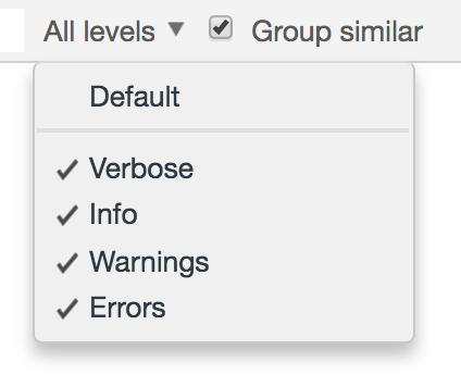 Filtering log levels in Google Chrome