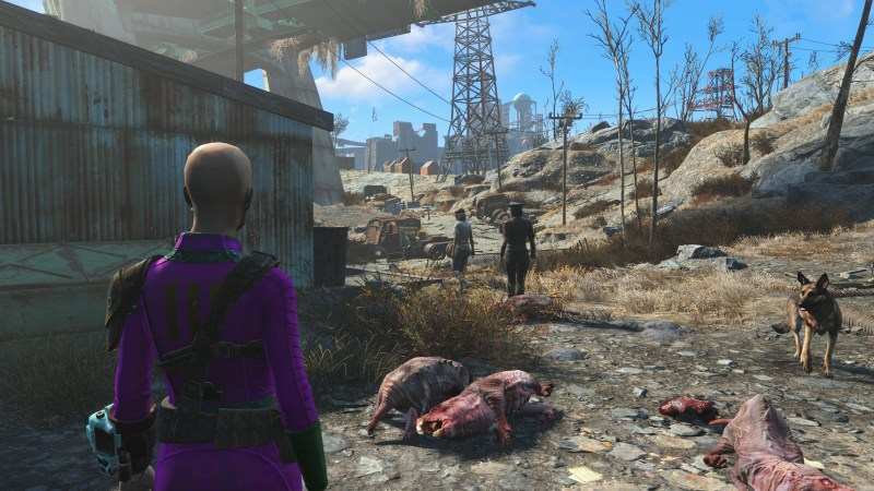Susan's Fallout 4 character with two people walking away from her.