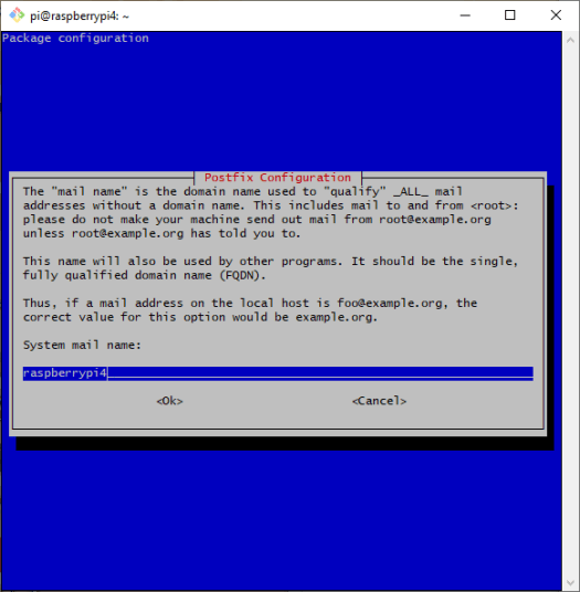 Screenshot of a package configuration dialog