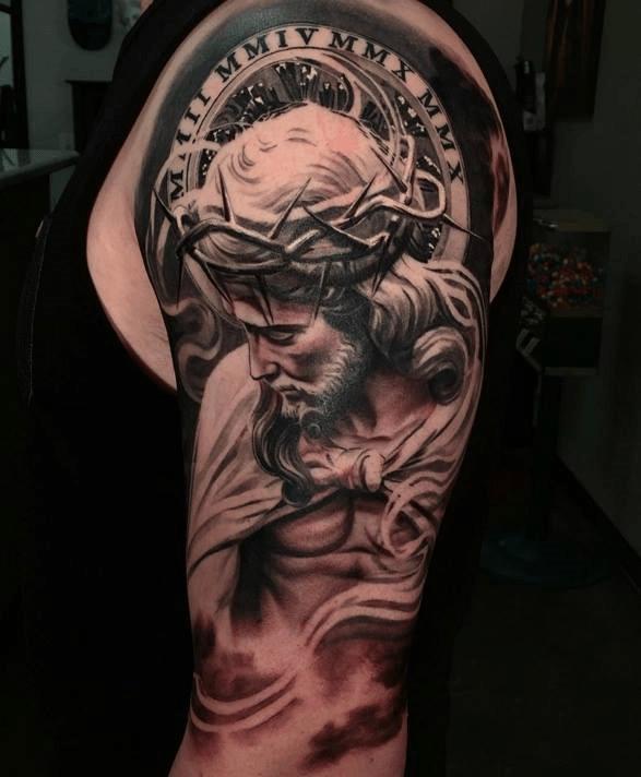 Jesus Tatoos : jesus, tatoos, Jesus, Christ, Tattoo., Tattoos, Andrew, Agelessarttattoos, Medium