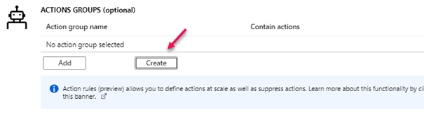 Create Action Group_Azure Health Service notifications