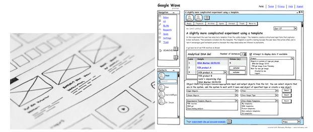 Примеры насованных вручную (слева) и на компьютере (справа) прототипов с низкой точностью