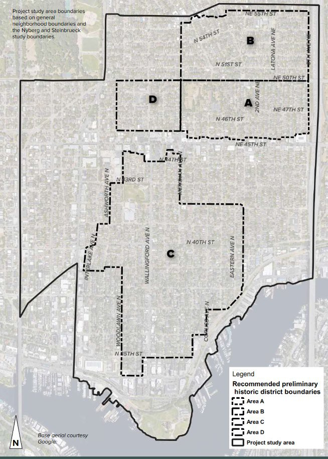 Historic Wallingford's recommended historic district boundaries.