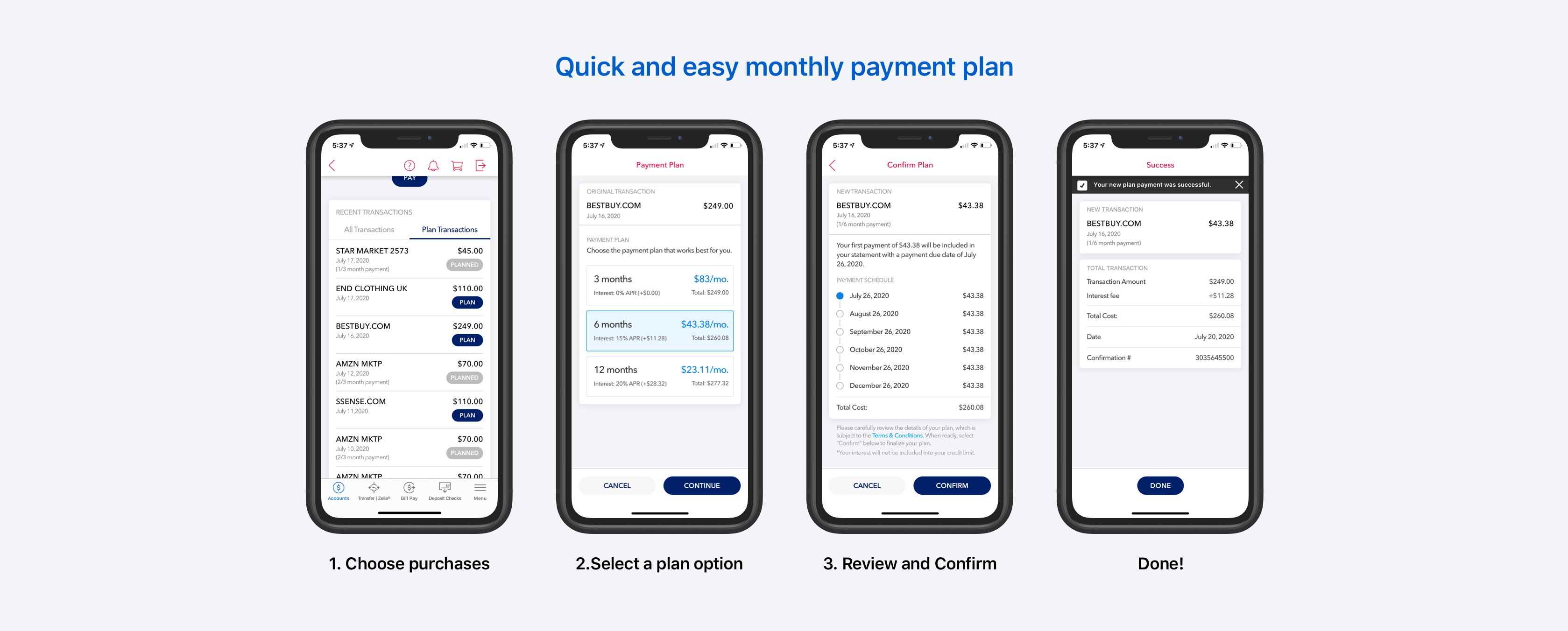 Bank of America Monthly Payment Plan — a UX case study