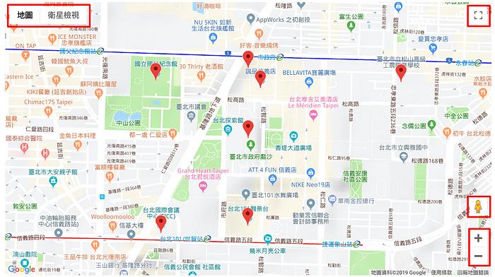 google map預設顯示的UI