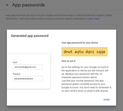 Screenshot of new application password